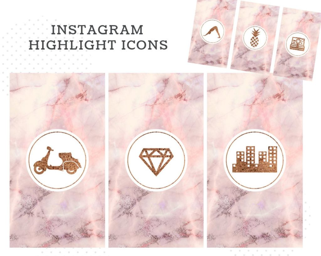 101 Marble Pink Instagram Highlight Covers Bonus Templates